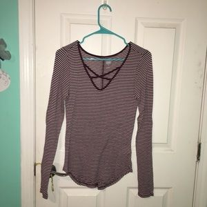 Striped cross neck long sleeve shirt